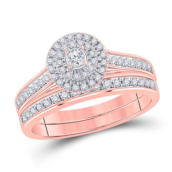 Diamond Halo Bridal Wedding Ring Band Set 1/2 Cttw 10kt Rose Gold