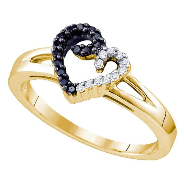 Sterling Silver Black Color Enhanced White Diamond Yellow-tone Heart Ring 1/6 Cttw Sterling Silver