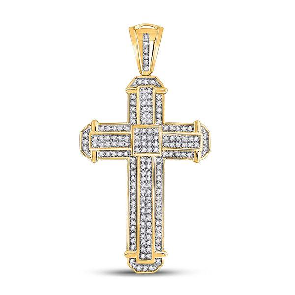 Mens Diamond Cross Charm Pendant 1/2 Cttw 10kt Yellow Gold