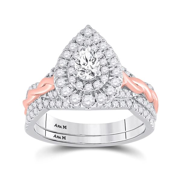 Pear Diamond Bridal Wedding Ring Band Set 1 Cttw 14kt Two-tone Gold