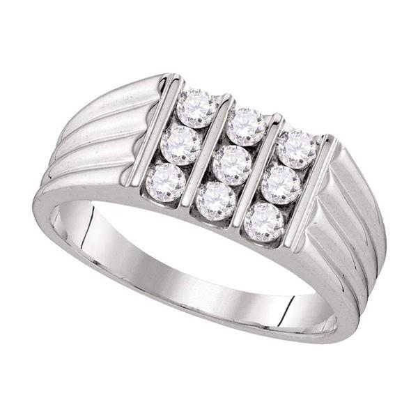 Mens Diamond Wedding Band Ring 3/4 Cttw 10kt White Gold