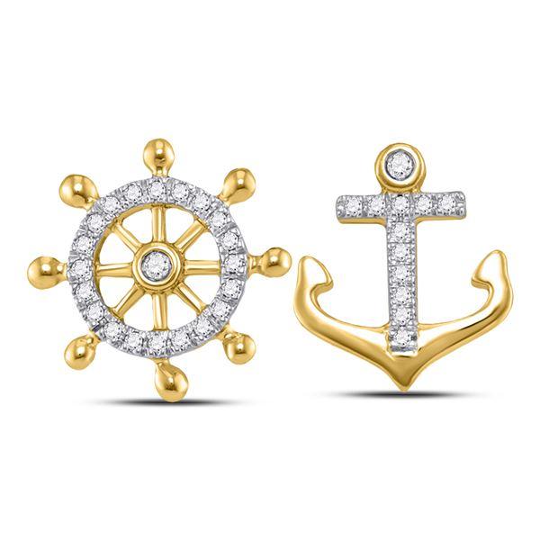 Diamond Anchor Wheel Nautical Earrings 1/10 Cttw 10kt Yellow Gold
