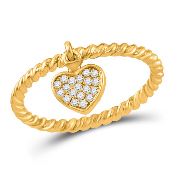 Diamond Heart Dangle Stackable Band Ring 1/10 Cttw 10kt Yellow Gold