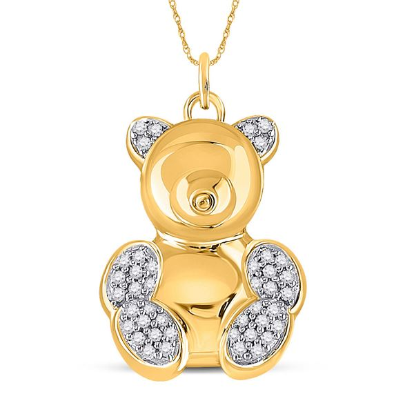 Diamond Bear Animal Pendant 1/10 Cttw 10kt Yellow Gold
