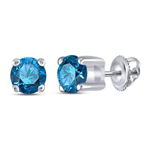 Blue Color Enhanced Diamond Solitaire Stud Earrings 1/4 Cttw 10kt White Gold