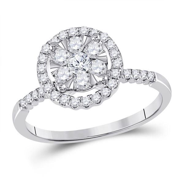 Diamond Halo Flower Cluster Ring 1/2 Cttw 14kt White Gold