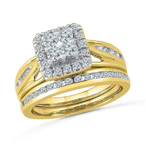 Diamond Cluster Bridal Wedding Ring Band Set 1 Cttw 10kt Yellow Gold