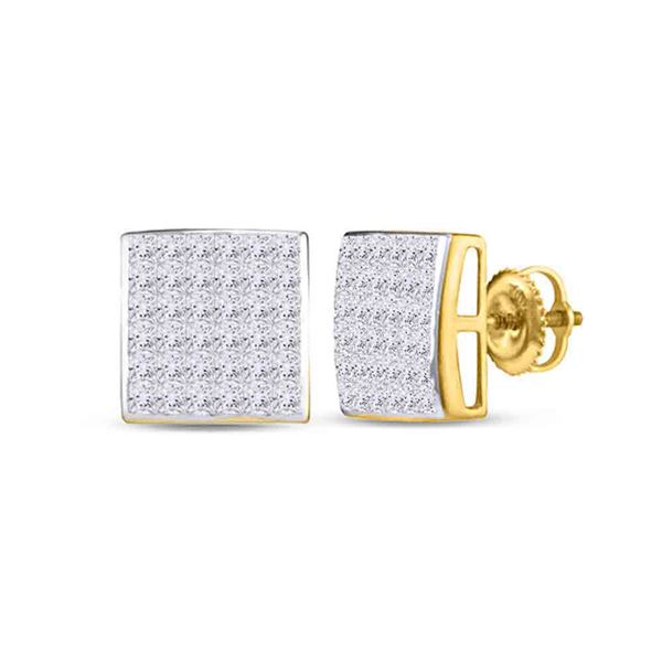 Princess Diamond Square Earrings 1 Cttw 14kt Yellow Gold