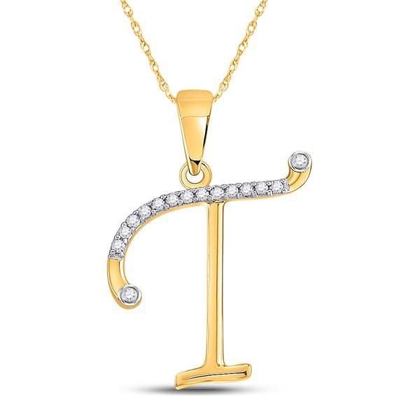 Diamond T Initial Letter Pendant 1/10 Cttw 10kt Yellow Gold