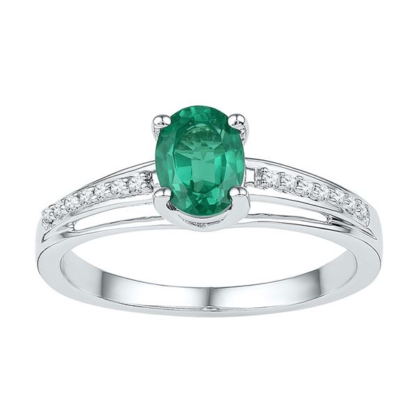 Oval Lab-Created Emerald Solitaire Diamond Ring 1/2 Cttw Sterling Silver