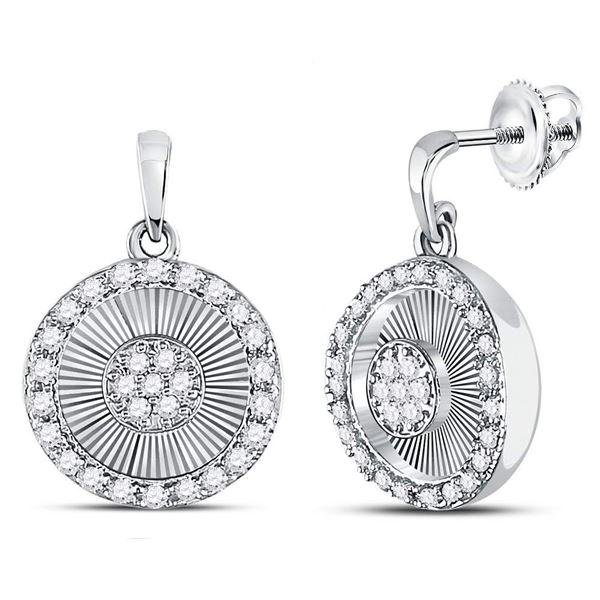 Diamond Circle Dangle Earrings 1/4 Cttw 10kt White Gold