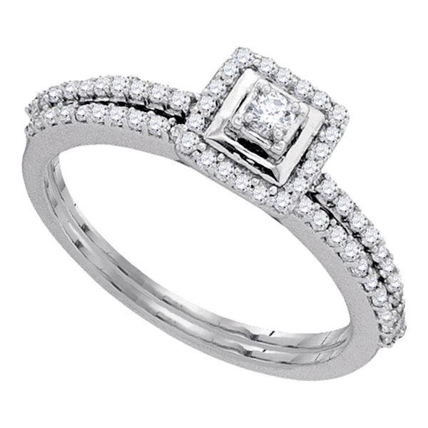 Diamond Slender Bridal Wedding Ring Band Set 1/3 Cttw 10kt White Gold