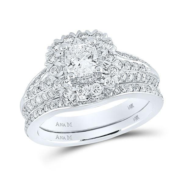 Cushion Diamond Bridal Wedding Ring Band Set 1-1/2 Cttw 14kt White Gold