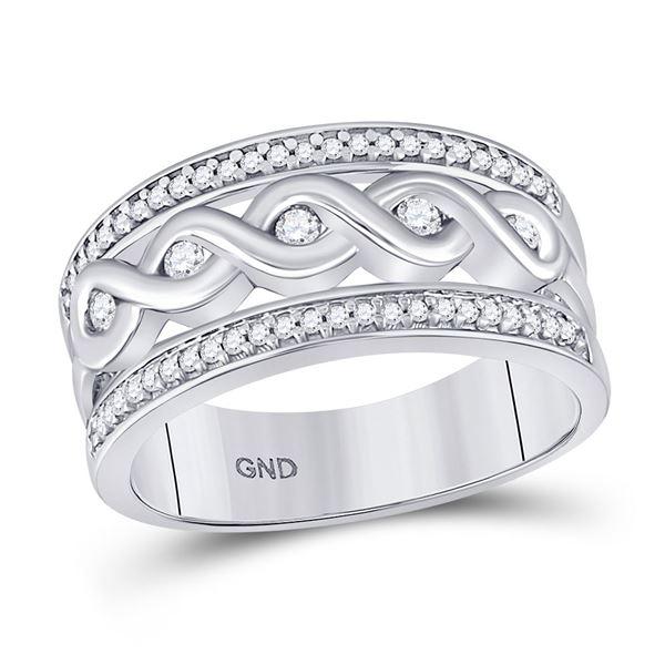 Diamond Twist Scroll Band Ring 1/4 Cttw 10kt White Gold