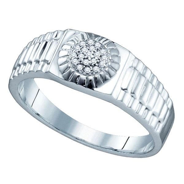 Sterling Silver Mens Diamond Cluster Ribbed Ring 1/20 Cttw Sterling Silver