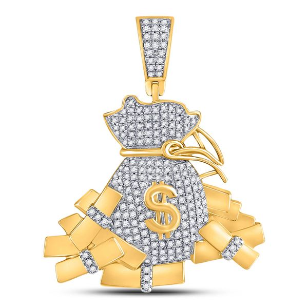 Mens Diamond Moneybag Charm Pendant 1 Cttw 10kt Yellow Gold