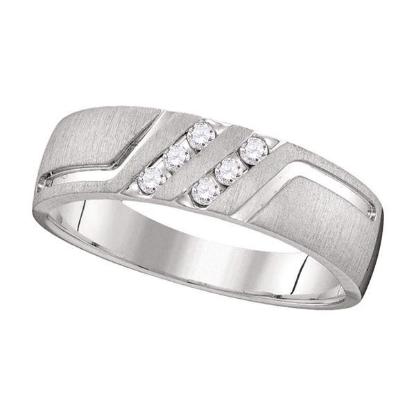 Mens Diamond Wedding Anniversary Band Ring 1/6 Cttw 14k White Gold
