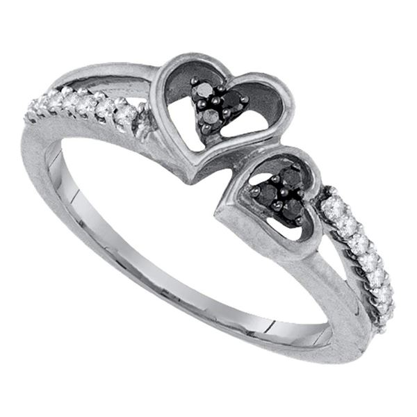 Black Color Enhanced Diamond Double Heart Ring 1/5 Cttw Sterling Silver