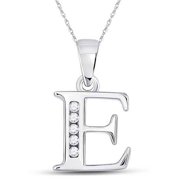 Diamond E Initial Letter Pendant 1/20 Cttw 10kt White Gold