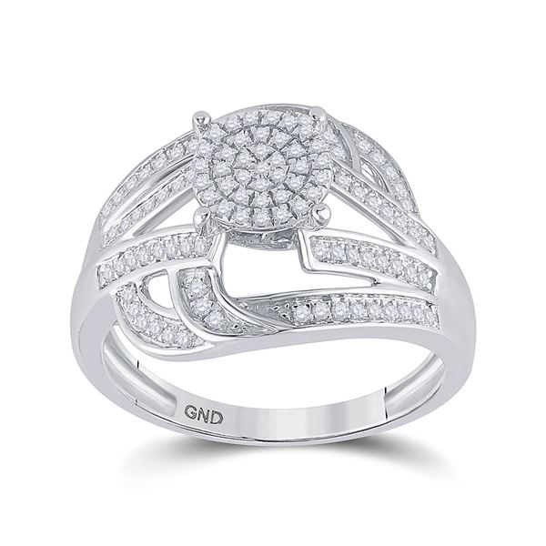Diamond Cluster Ring 1/3 Cttw Sterling Silver