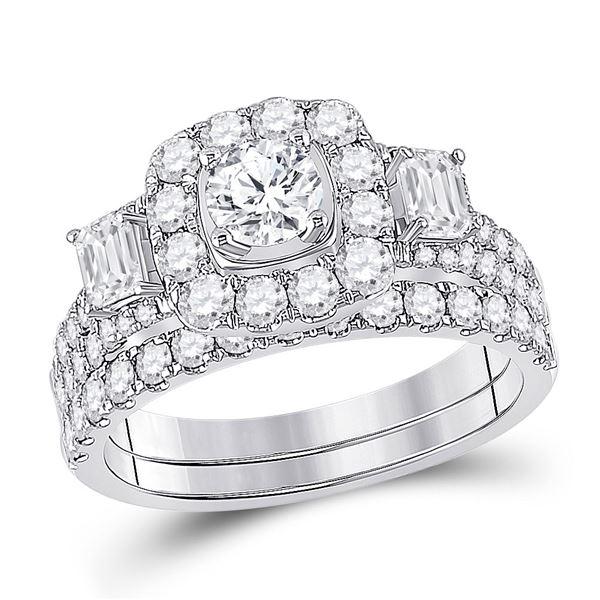 Diamond Bridal Wedding Ring Band Set 2 Cttw 14kt Two-tone Gold
