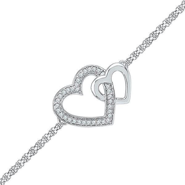 Diamond Double Heart Chain Bracelet 1/10 Cttw Sterling Silver