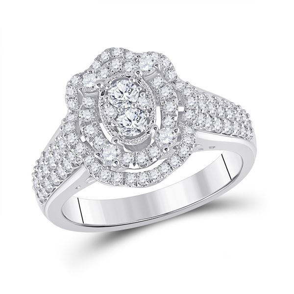 Diamond Oval Ring 1 Cttw 14kt White Gold
