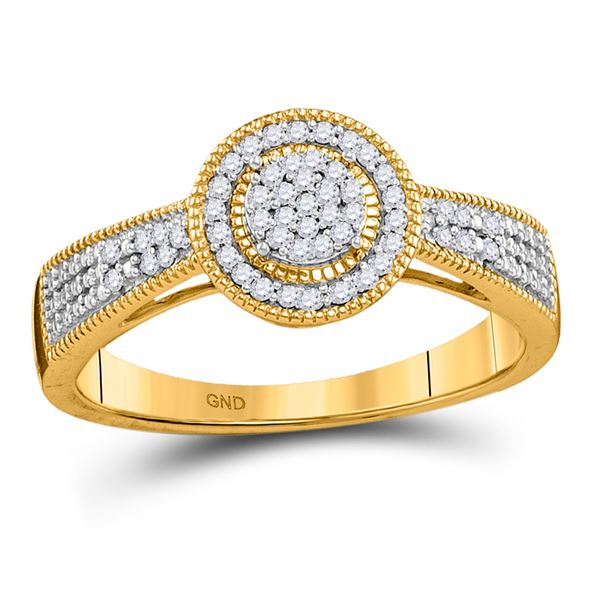 Diamond Circle Cluster Ring 1/6 Cttw 10kt Yellow Gold