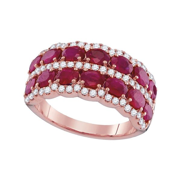 Oval Ruby Diamond Row Band Ring 3-7/8 Cttw 18kt Rose Gold