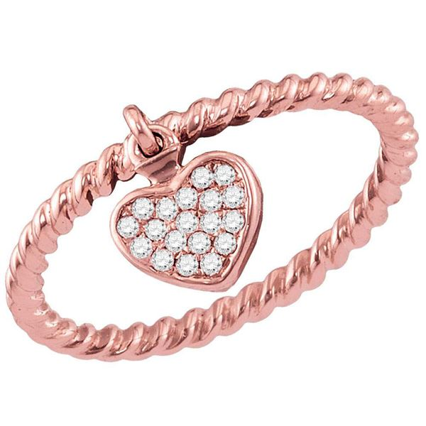 Diamond Heart Dangle Stackable Band Ring 1/10 Cttw 14kt Rose Gold