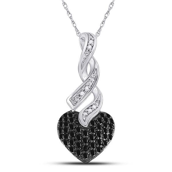 Black Color Enhanced Diamond Heart Pendant 1/3 Cttw 10kt White Gold