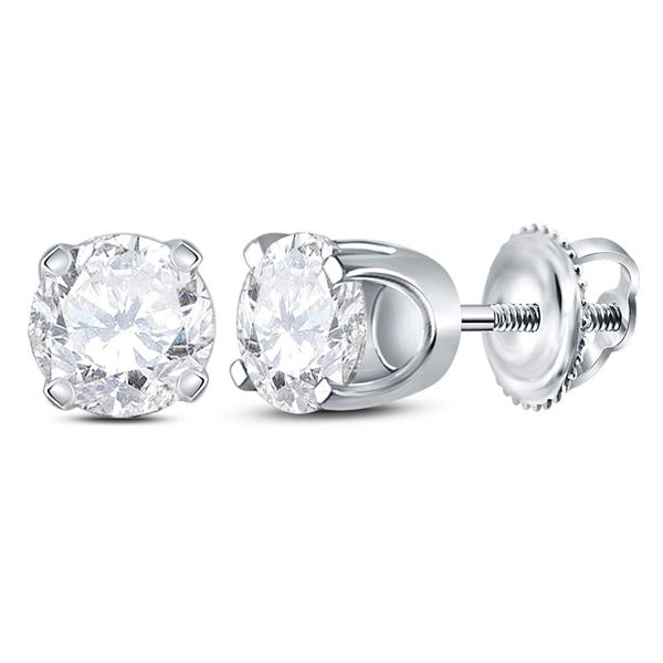 Unisex Diamond Solitaire Stud Earrings 7/8 Cttw 14kt White Gold