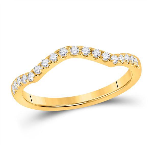 Diamond Wedding Curved Enhancer Band 1/5 Cttw 10kt Yellow Gold