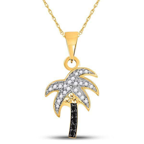Black Color Enhanced Diamond Palm Tree Pendant 1/8 Cttw 10kt Yellow Gold