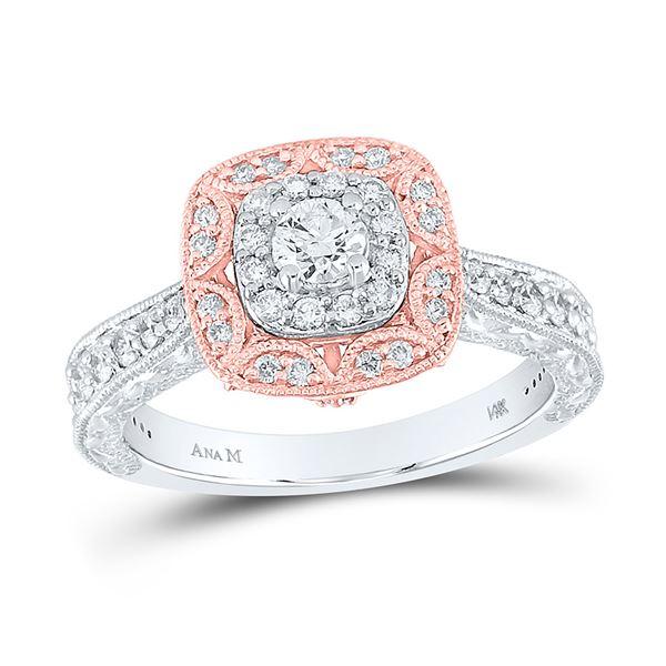 Diamond Halo Bridal Wedding Engagement Ring 3/4 Cttw 14kt Two-tone Gold