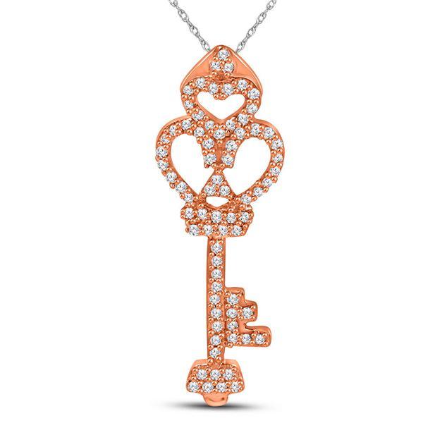 Diamond Trefoil Key Pendant 1/5 Cttw 10kt Rose Gold