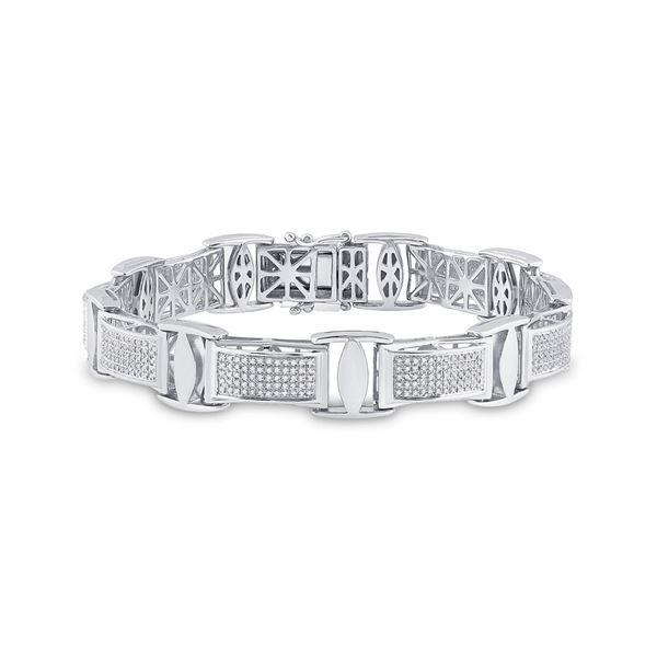 Sterling Silver Mens Diamond Rectangle Link Bracelet 1-5/8 Cttw Sterling Silver