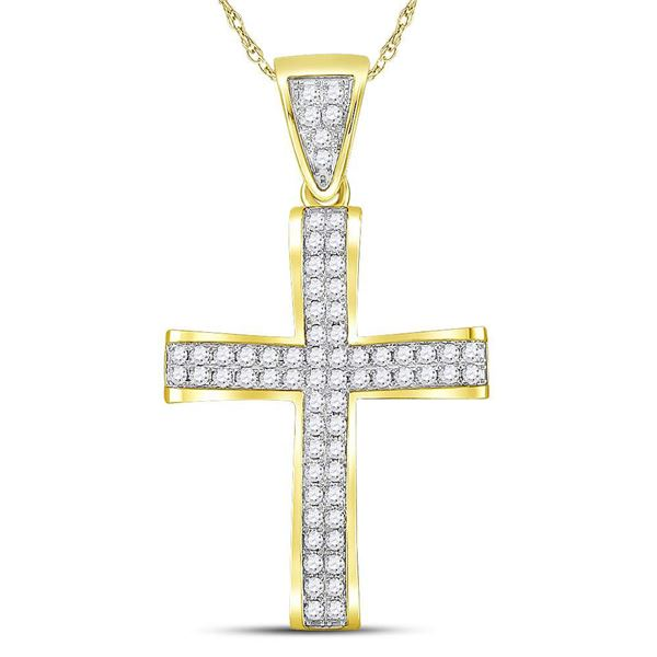 Mens Diamond Roman Cross Charm Pendant 1 Cttw 10kt Yellow Gold