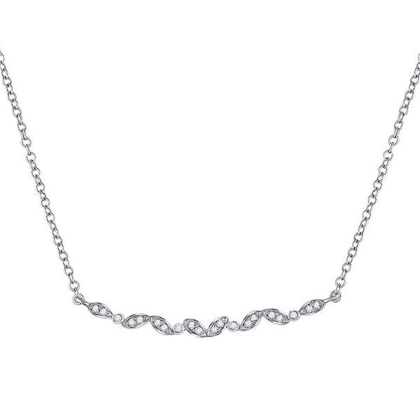 Diamond Bar Necklace 1/10 Cttw 14kt White Gold