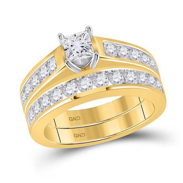 Princess Diamond Bridal Wedding Ring Band Set 2 Cttw 14kt Yellow Gold