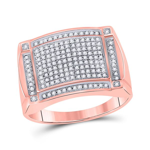 Mens Diamond Cluster Ring 1/2 Cttw 10kt Rose Gold
