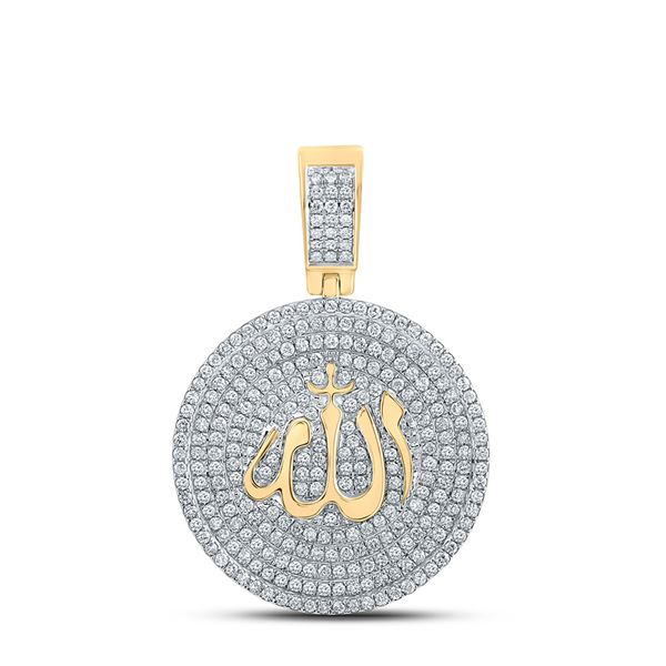 Mens Diamond Allah Islam Circle Charm Pendant 2-3/4 Cttw 14kt Yellow Gold