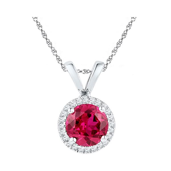 Lab-Created Ruby Solitaire Pendant 1 Cttw 10kt White Gold