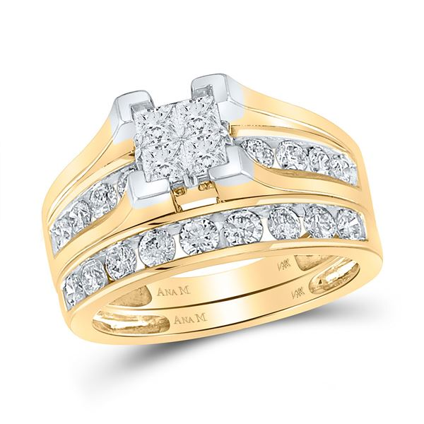 Princess Diamond Bridal Wedding Ring Band Set 1-1/2 Cttw 14kt Yellow Gold