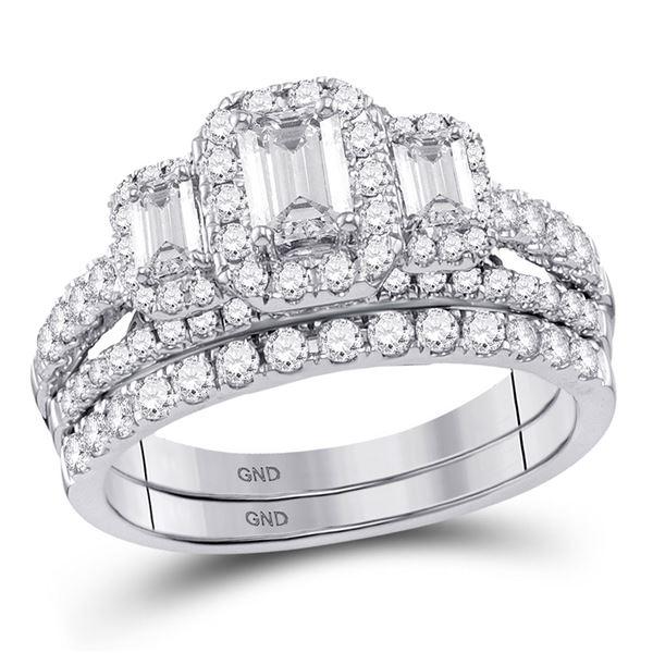 Emerald Diamond 3-Stone Bridal Wedding Ring Band Set 1-1/2 Cttw 14kt White Gold