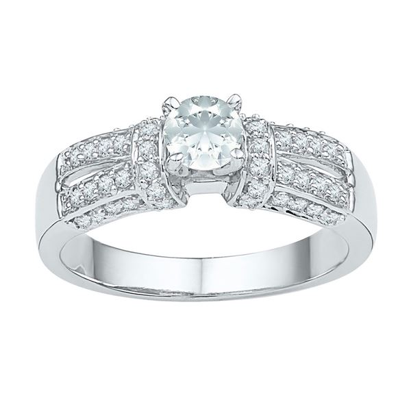 Lab-Created Sapphire Solitaire Ring 3/4 Cttw 10kt White Gold