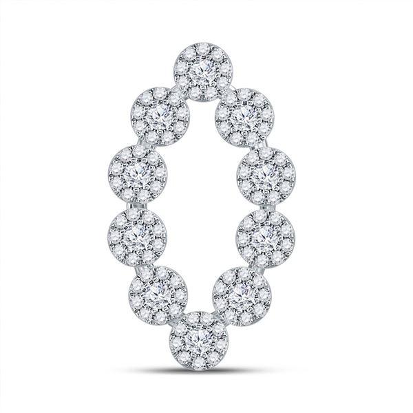 Diamond Oval Fashion Pendant 3/4 Cttw 10kt White Gold