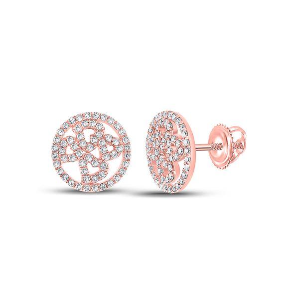 Diamond Heart Circle Earrings 1/2 Cttw 10kt Rose Gold