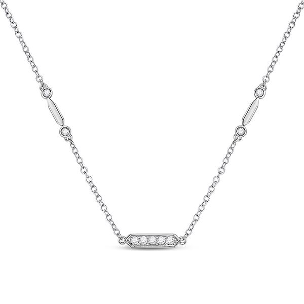 Diamond Fashion Bar Necklace 1/4 Cttw 14kt White Gold