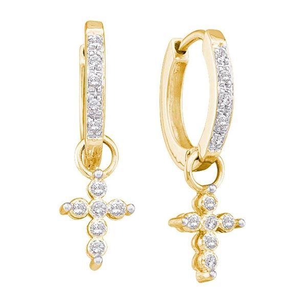 Diamond Cross Dangle Hoop Earrings 1/10 Cttw 10kt Yellow Gold
